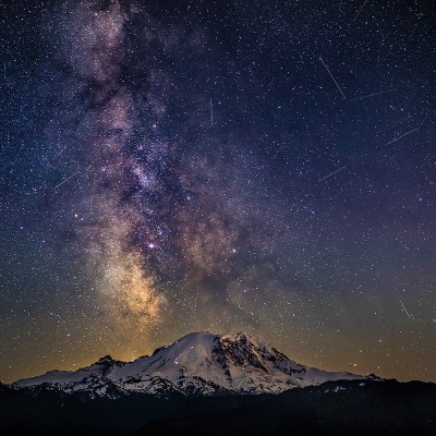 Milkyway over Mount Rainier by Nikky Stephen